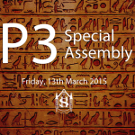 The Primary 3 special assembly takes place on Friday, 13th March 2015.  Parents and family members are invited to join us for this special event.